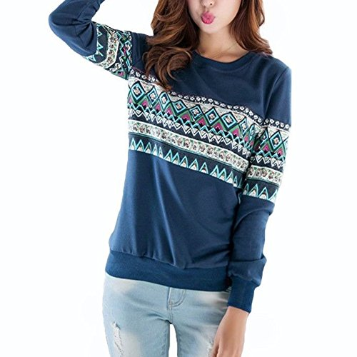 Thinkbest Womens Cotton Print Casual Long Sleeve Sweatshirt Blouse Pullover