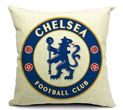 Cotton Linen Throw Pillow Case Cushion Cover Home Sofa Decorative 18 X 18 Inches / 45 X 45 cm, Football Club Badge (Chelsea)