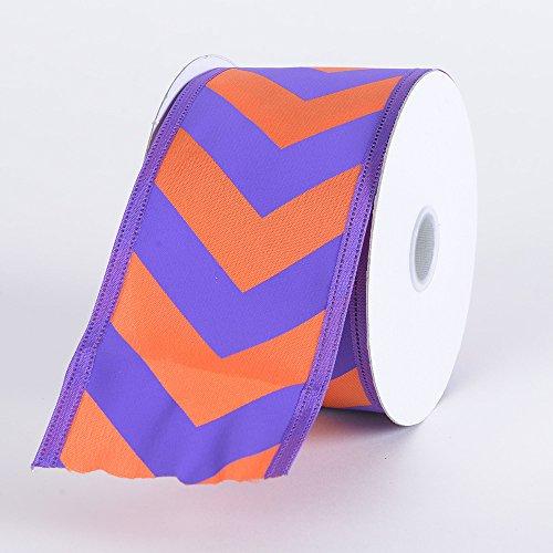 Fuzzy Fabric 2-1/2 inch x 10 Yards Chevron Print Satin Ribbon Wired Edge, Purple with Orange