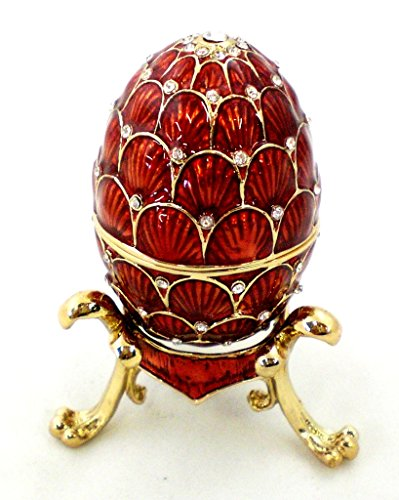 Faberge Style Egg Trinket Box with Stand, Clear Swarovski Crystal, Red Enamel Over Solid Pewter, L 1.75 X H 2.50 x W 1.75