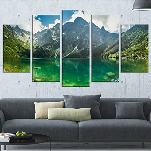 Designart Green Mountain Lake At Tatras-Landscape Wall Art Canvas Print (5 Piece)