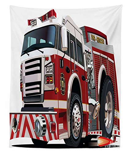 Lunarable Fire Truck Tapestry Twin Size, Realistic Illustration Big Truck Fire Rescue Department Transportation, Wall Hanging Bedspread Bed Cover Wall Decor, 68 W X 88 L Inches, Ruby Black Pale Grey