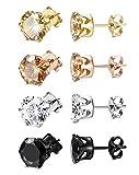 ORAZIO 4 Pairs Stainless Steel Women Stud Earrings Mens Ear Piercing Cubic Zirconia Earrings 4-8mm