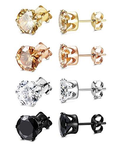 ORAZIO 4 Pairs Stainless Steel Women Stud Earrings Mens Ear Piercing Cubic Zirconia Earrings 4mm