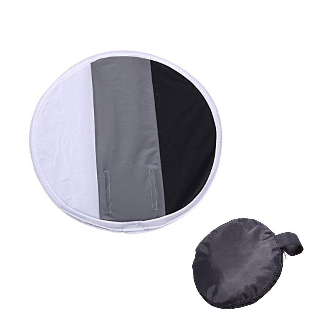 Inseesi 11.8'' 30cm Round Portable Softbox White-balance Diffuser Multi-function With Gray,Black,White Card for Nikon, Canon, Sony,etc DSLR Flash Speedlite