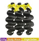 Rechoo Indian Virgin Remy Human Hair Extension Weave 3 Bundles 300g - Natural Black,16