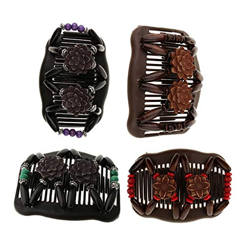 4x Magic Wooden Bead Stretch Double Side Combs Bun Maker Hair Stying Tool