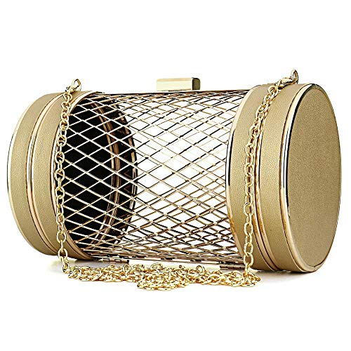 Girls Black Womens Chain Handbag Shape Evening Shoulder Bag Clutch Hollow Cylinder Mesh Party Metal Cage 1wadqwAr