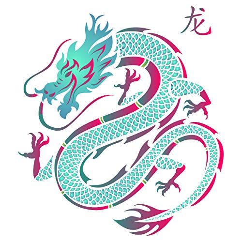 Dragon Stencil - 14 x 14 inch (L) - Reusable Chinese Asian Oriental Japanese Wall Stencil Template - Use on Paper Projects Scrapbook Journal Walls Floors Fabric Furniture Glass Wood etc.