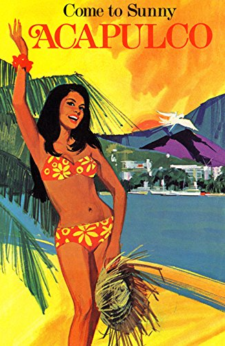 Come to Sunny Acapulco Poster, Mexico, Vintage Travel Poster