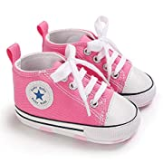 Baby Boys Girls Star High Top Sneaker Soft Anti-Slip Sole Newborn Infant First Walkers Canvas Denim Shoes (0-6 Months, HY-Baby-P) Pink