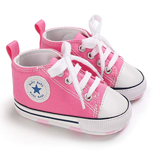 Baby Boys Girls Star High Top Sneaker Soft Anti-Slip Sole Newborn Infant First Walkers Canvas Denim Shoes (0-6 Months, HY-Baby-P) Pink ()