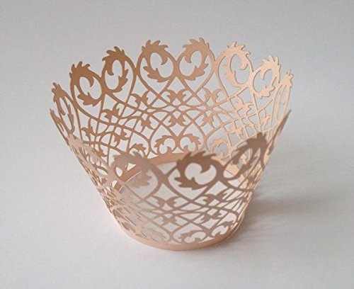 12 pcs Full Damask Cupcake Wrappers Wrapper for Standard Size Cupcake Liners (Choose Color) (Rose Gold)