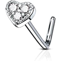 Forbidden Body Jewelry 20g Surgical Steel Tri-CZ Crystal Heart Top L-Shaped Nose Stud (Choose Color)
