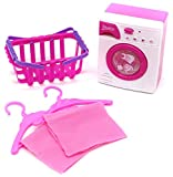 Little Treasures Miniature Laundry Pretend Play Set Toy for Kids role play with washing machine, clothe, hangers and Basket all in pink and purple