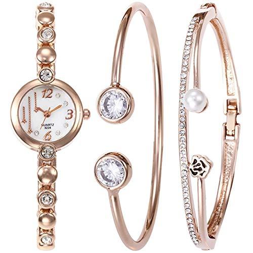 (Lindsie-Box - Luxury Women New Alloy Watch Bracelet Slim Steel Strap Female Wristwatch Bangle Gift Shiny Rhinestone Jewelry Set 2/3pcs)