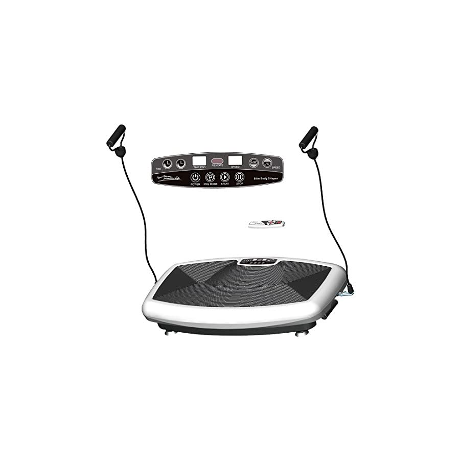 HEALTH LINE MASSAGE PRODUCTS Maximum User Weight 330LB Super Thin Full Body Vibration Platform Fitness Vibration Plate Massager Machine Body Shape Exercise Machine with Two Bands and Remote