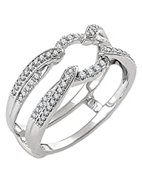 14k White Gold Plated Split Shank Solitaire Enhancer 0.33ct Simulated Diamonds Ring Guard Wrap