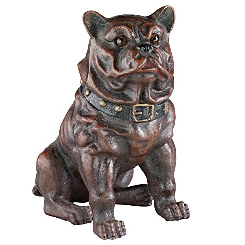 Design Toscano SP1347 Boss, The Sitting British Bulldog Collectors' Still Action Die-Cast Iron Coin Bank, Full - Bookends Sitting