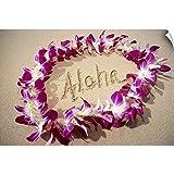 Mary Van de Ven Wall Peel Wall Art Print Entitled Hawaii, Purple Orchid Lei On Beach, Aloha Written in Sand 18'x12'