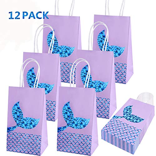 (Mermaid Party Bags Mermaid Party Supplies Favors Gift Bags Goodie Bag Glitter Treat Paper Bags for Kids Girls Mermaid Themed Birthday Party 12)