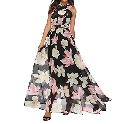 Dressin Elegan Maxi Dress,Women Casual Floral Printed Swing Backless Strap Dress Beach Long Dresses White]()