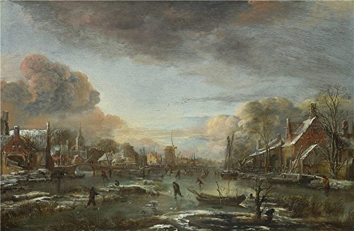 The High Quality Polyster Canvas Of Oil Painting 'Aert Van Der Neer A Frozen River By A Town At Evening ' ,size: 18 X 28 Inch / 46 X 70 Cm ,this High Definition Art Decorative Canvas Prints Is Fit For Living Room Artwork And Home Decor And Gifts (Frozen Walkie)