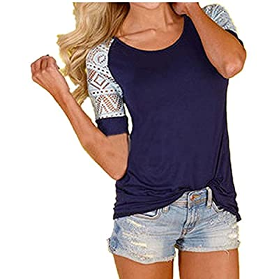 Lisingtool Women's Lace Short Sleeve T-Shirt Tee Blouse Casual Tops