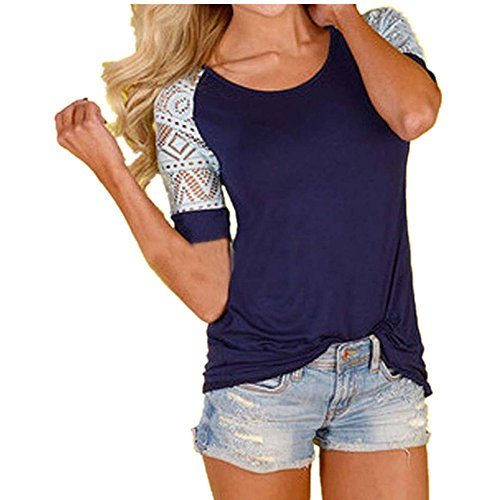 Lisingtool Women's Lace Short Sleeve T-Shirt Tee Blouse Casual Tops