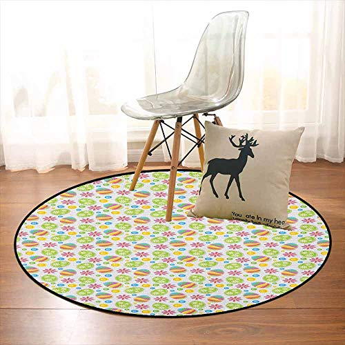 (Easter Super Soft Round Home Carpet Patchwork Style Graphic Scrapbook Pattern with Daisy Sewing Buttons and Egg Figures for Sofa Living Room D47.2 Inch Multicolor)