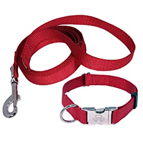 Country Brook DesignÃÂ Premium Nylon Dog Collar and Leash - Red - Large
