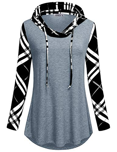 MOQIVGI Plaid Sweatshirts Women,Chic Classic Female Vneck Cozy Warm Relaxed Fit Novelty Contrast Color Jersey Pullover Shirts Knitwear Flattering Cover Up Hoodies Loft Clothing Tops Grey XX-Large
