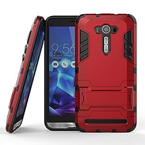 "Asus Zenfone 2 Laser ZE550KL Case, SsHhUu Shock Proof Cover Dual Layer Hybrid Armor Combo Protective Hard Case with Kickstand for Asus Zenfone 2 Laser ZE550KL (5.5"") Red"