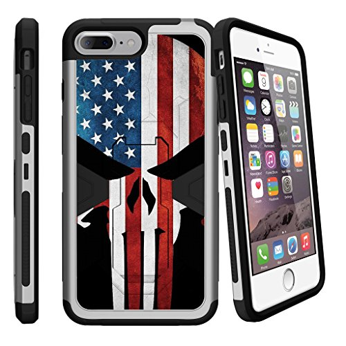 MINITURTLE Compatible with iPhone 7 Plus | 7s Plus Holster Case (5.5)[MAX Defense][Silver] Shockproof Hybrid Stand w/Stand American Flag Skull