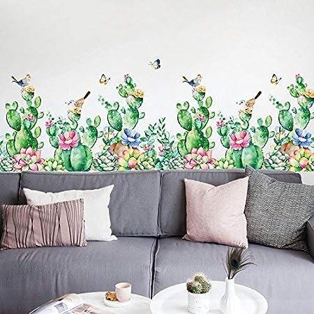 Wall Stickers DIY Flower Plants Leaf Baseboard Decoration Living Room Kitchen