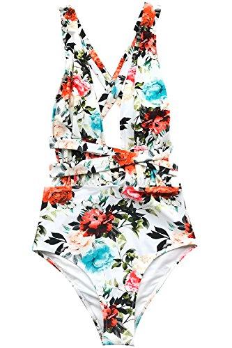 CUPSHE Womens Rose Only Print Back Cross One-Piece Swimsuit Bikini