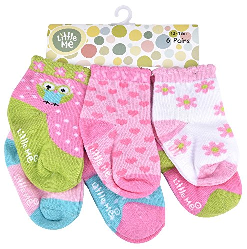 Little Me Baby Girls' 12 Pack Socks Happy Owl, Multi, Newborn 0-6 Months
