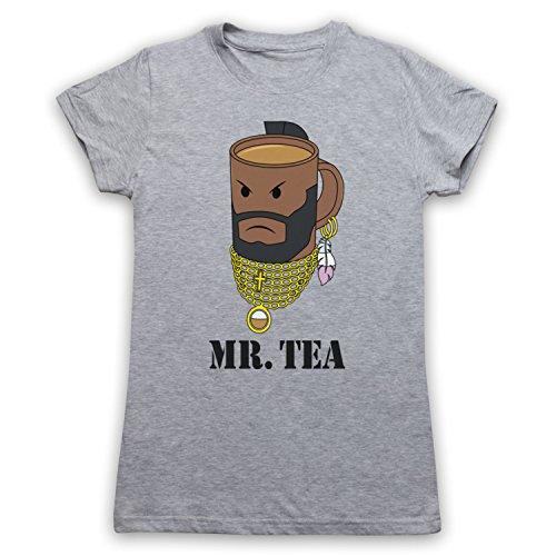 Mr Tea Graphic Illustration Camiseta para Mujer Gris Claro