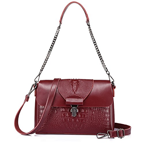 AASSDDFF Mujeres Messenger Bags Split Crossbody Bag Ladies Designer Bolsos Mujer Cocodrilo Imprimir Bolsa de hombro Bolsa de cadena,Negro borgoña