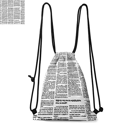 Old Newspaper Decor Drawstring backpack series Close Up Aged Journal Page with Headings News Articles Columns Convenient choice for daily activities W13.8 x L17.7 Inch Black and White