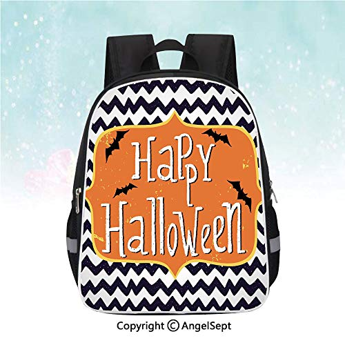 Nylon Fabric Backpack,Cute Halloween Greeting Card Inspired Design Celebration Doodle Chevron Decorative,13