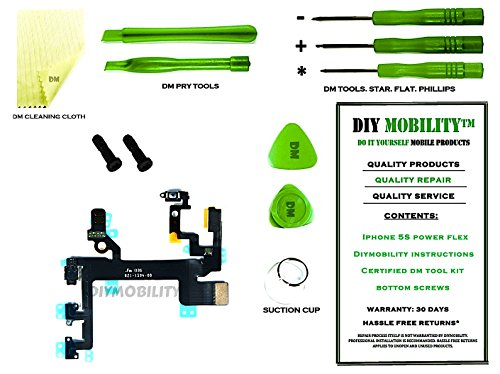 iPhone 5S Power Button, Proximity Light Sensor, and Microphone Flex Cable PREMIUM Kit with DM Tools, Cleaning Cloth, and Instructions Included - DIYMOBILITY