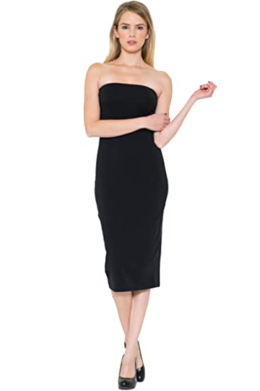 Amazon.com  2LUV Women s Strapless Bodycon Midi Dress black S ... c0280a7ef
