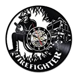 Firefighter Vinyl Wall Clock Retirement Gift Art Gifts for Women Men Decor Fire Truck Items Birthday Party Vintage Decal Artwork Review