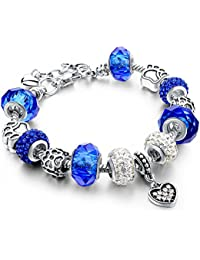 Silver Plated Snake Chain Purple Glass Crystal Beads Heart Charm Bracelet for Women ¡