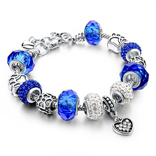 (Long Way Silver Plated Snake Chain Glass Crystal Beads Heart Charm Bracelet for Women (Blue))