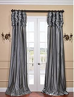 Half Price Drapes PTCH 112 84 RU Ruched Faux Silk Taffeta Curtain,