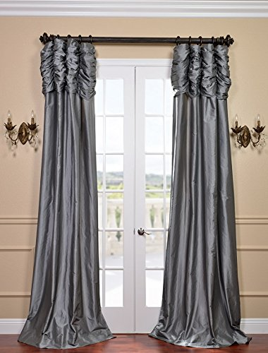 Half Price Drapes PTCH-112-120-RU Ruched Faux Silk Taffeta Curtain, Platinum