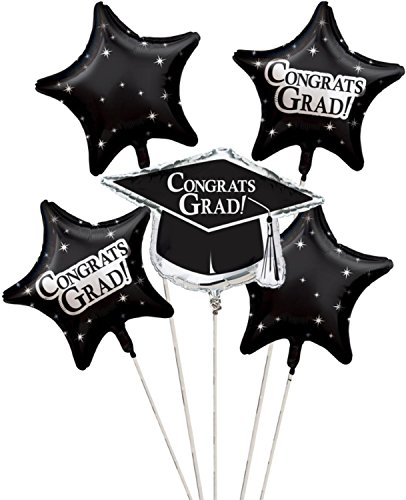 Club Pack of 12 Black Metallic Foil ''Congrats Grad'' Graduation Day Party Balloon Clusters by Party Central