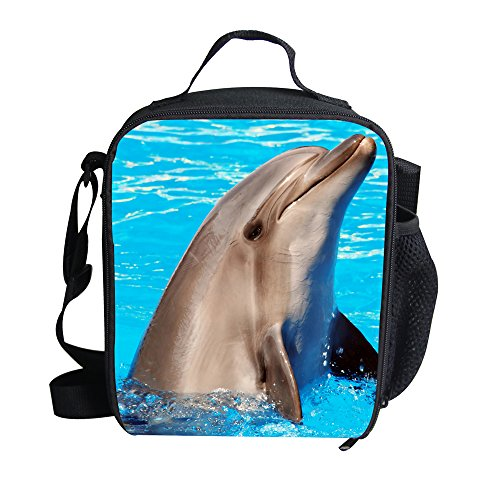(Insulated Lunch Boxes Bags Kid Dolphin Personalized Lunch Carrier for Toddler)